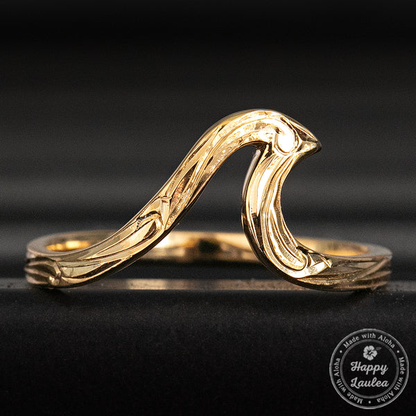 Gold Ion Plated Sterling Silver Hand Engraved Scroll Pattern Wave Ring