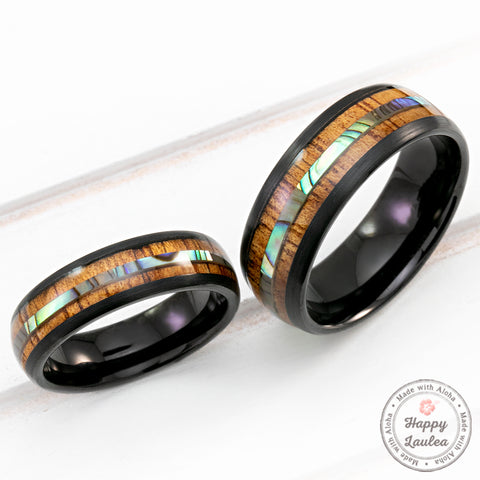 Black Tungsten with Abalone Shell and Hawaiian Koa Wood Inlay - 6-8mm, Dome Shape, Comfort Fitment