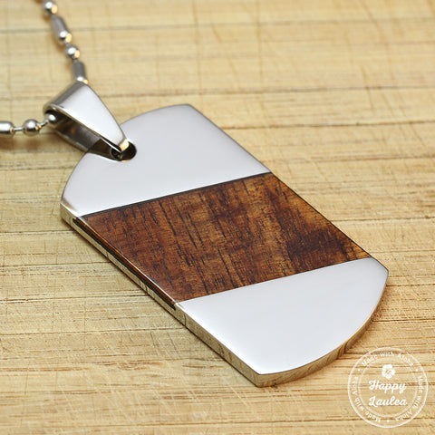 "Stainless Steel Dog Tag Pendant with Slanted Koa Wood Inlay - 2.75""L x 1.37""W, Free Stainless Steel Chain"
