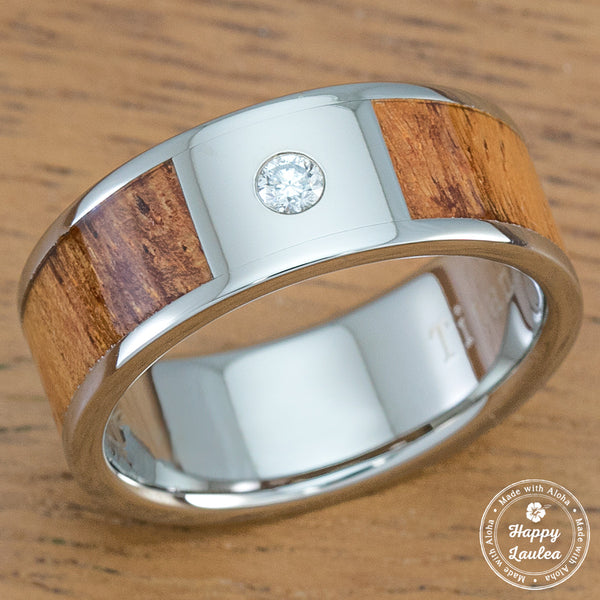 Titanium Diamond Ring with Hawaiian Koa Wood Inlay - 8mm, Flat Shape, Standard Fitment