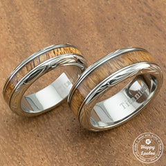 Pair of Hand Engraved Titanium Couple/Wedding Ring with Hawaiian Koa Wood Inlay - 6&8mm, Dome Shape, Comfort Fitment