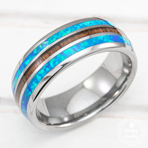 Tungsten Carbide Ring with Blue Opal & Hawaiian Koa Wood Tri-Inlay (Opal-Wood-Opal) - 8mm, Dome Shape, Comfort Fitment