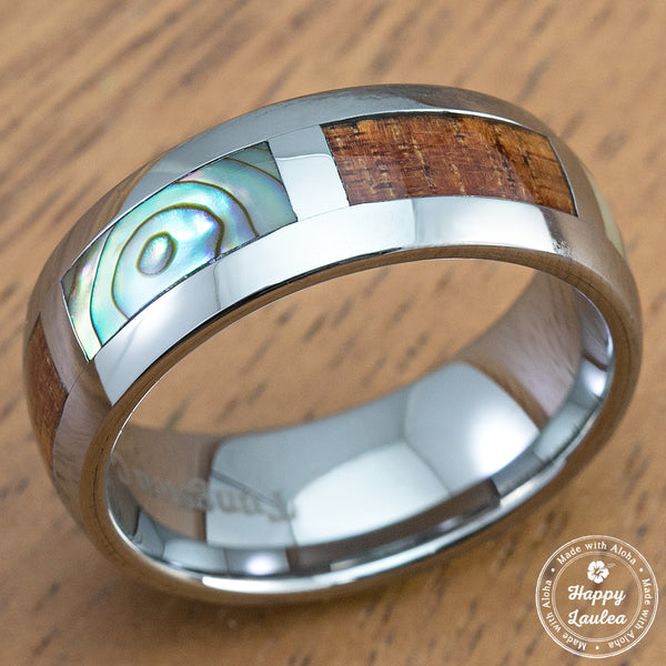 Tungsten Carbide Ring with Abalone Pau'a Shell & Koa Wood Block Inlay - 8mm, Dome Shape, Comfort Fitment