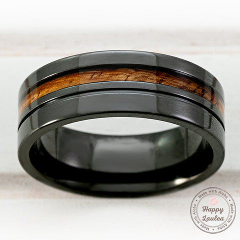 Black Zirconium High Polished Ring with Offset Hawaiian Koa Wood Inlay - 8mm Flat Shape, Comfort Fitment