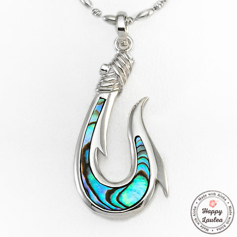 925 Sterling Silver Fish Hook Pendant with Abalone Pau'a Shell Inlay