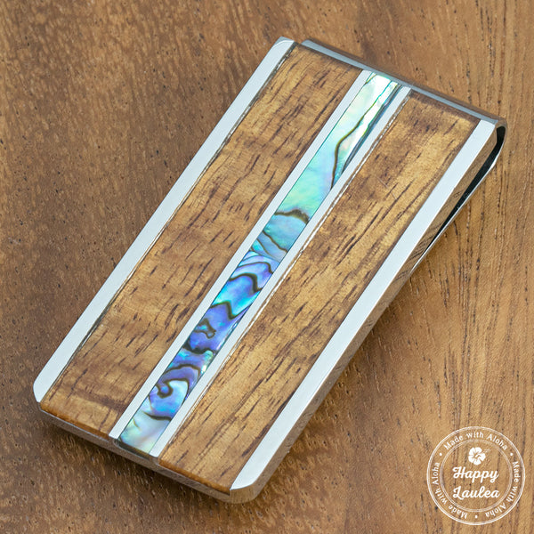 Stainless Steel Money Clip wth Abalone Shell & Koa Wood Tri-Inlay
