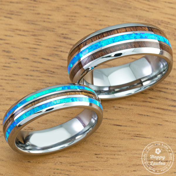 Pair of 6 & 8mm Width Tungsten Wedding Band Ring Set with Blue Opal and Koa Wood (Assorted Designs)