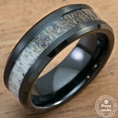 Black Tungsten Carbide Beveled Edge Ring with Genuine Elk Antler Inlay - 8mm, Flat Shape, Comfort Fitment