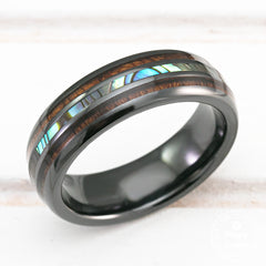 HI-TECH Black Ceramic Ring with Abalone Pau'a Shell and Koa Wood Tri-Inlay - 6mm, Dome Shape, Comfort Fitment