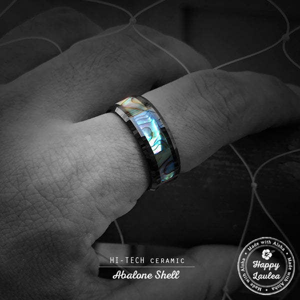 HI-TECH Black Ceramic Beveled Edged Ring with Abalone Pau'a Shell Inlay - 8mm, Flat Shape, Comfort Fitment