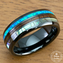 HI-TECH Black Ceramic Ring with Abalone Shell, Koa Wood & Opal Inlay - 8mm, Dome Shape, Comfort Fitment