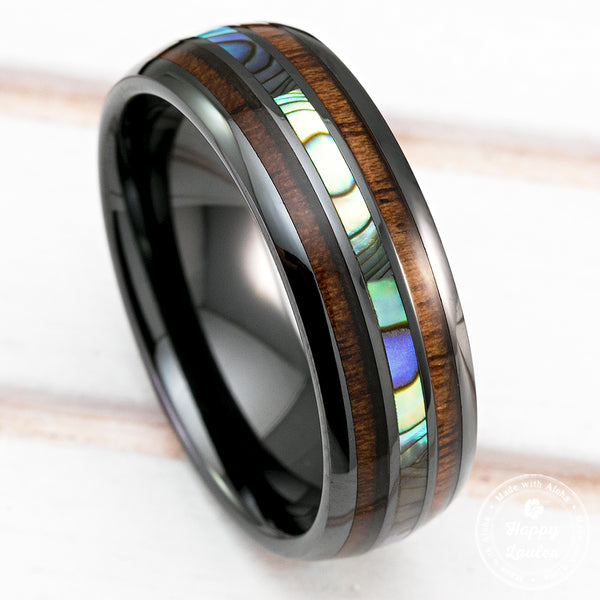 Black Hi-Tech Ceramic Ring with Abalone Pau'a Shell and Hawaiian Koa Wood Tri-Inlay - 8mm, Dome Shape, Comfort Fitment