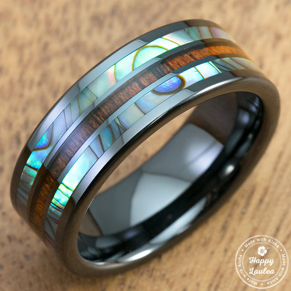 HI-TECH BLACK CERAMIC RING WITH ABALONE PAU'A SHELL AND KOA WOOD TRI-INLAY - 8mm, Flat Shape, Comfort Fitment