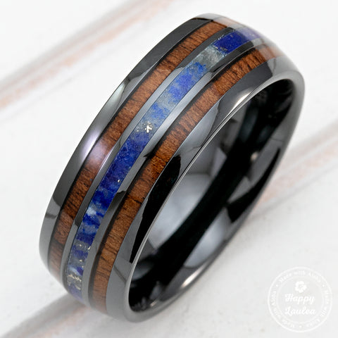 Black Ceramic Ring with Koa Wood & Lapis Tri-Inlay - 8mm, Dome Shape, Comfort Fitment