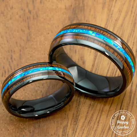 Pair of HI-TECH Black Ceramic Rings with Blue Opal & Koa Wood Tri Inlay - 6&8mm, Dome Shape, Comfort Fitment