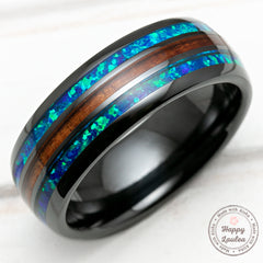 HI-TECH Black Ceramic Ring with Blue Opal & Hawaiian Koa Wood Tri-Inlay (Opal-Wood-Opal) - 8mm, Dome Shape, Comfort Fitment