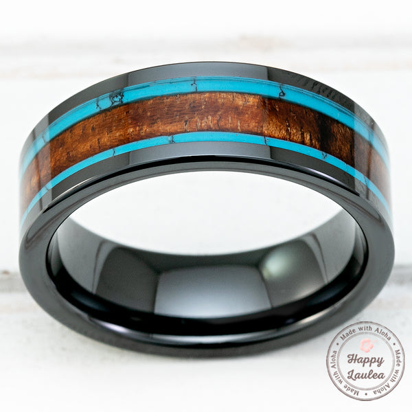 HI-TECH Black Ceramic Ring with Hawaiian Koa Wood and Turquoise Tri-Inlay - 8mm, Flat Shape, Comfort Fitment