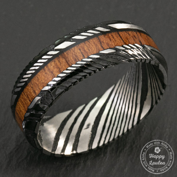 Damascus Steel Black Ion Plated Ring with Hawaiian Koa Wood - Flat Shape, Comfort Fitment