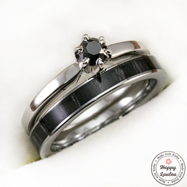 14k White Gold Solitaire .25CT Black Diamond Engagement Ring Set with Petite 3mm Width Tungsten Carbide Ebony Wood Ring