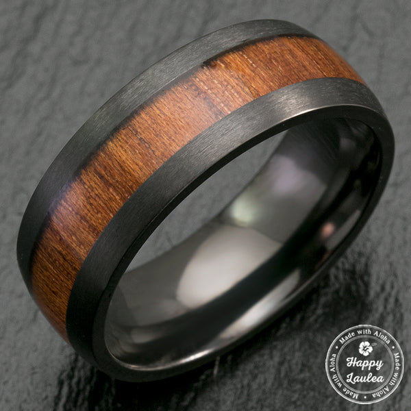 Black Zirconium Matte Finished Ring with Hawaiian Koa Wood Inlay - 8mm, Dome Shape, Comfort Fitment
