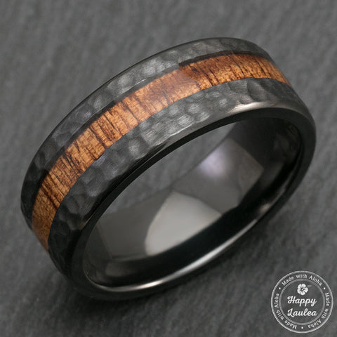 Black Zirconium Hammered Ring with Offset Koa Wood Inlay - 8mm, Flat Shape, Comfort Fitment