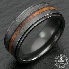 Black Zirconium Step Edge Ring with Hawaiian Koa Wood Inlay - 8mm, Flat Shape, Comfort Fitment