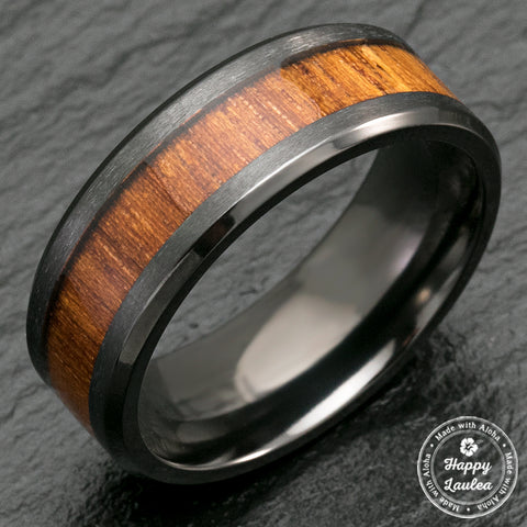 Black Zirconium Beveled Edge Ring with Hawaiian Koa Wood Inlay - 8mm, Flat Shaped, Comfort Fitment