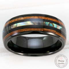 Black Tungsten Ring with Abalone Shell & Hawaiian Koa Wood Tri-Inlay - 8mm, Dome Shape