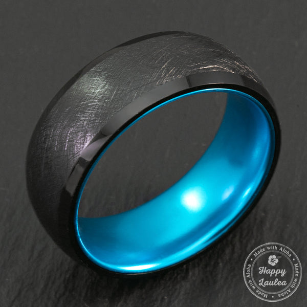 Black Tungsten Brushed Finish Ring With Space Grade