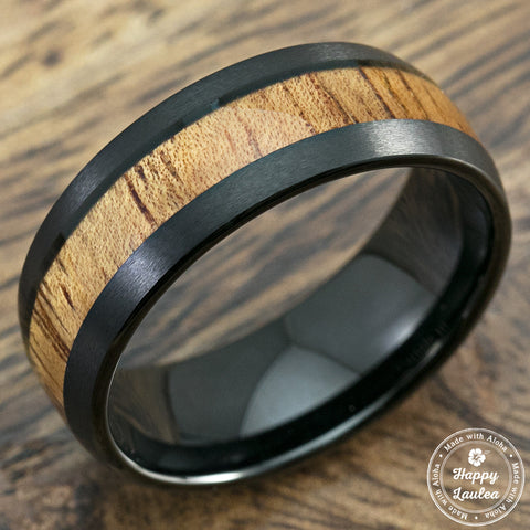 Black Tungsten Carbide Brush Finish Ring with Koa Wood Inlay, 6-8mm, Dome Shape, Comfort Fitment