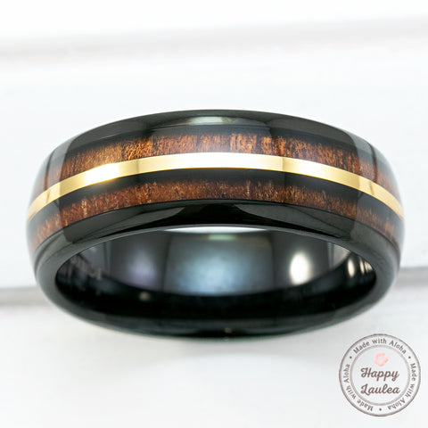 Black Tungsten Carbide Mid-Gold Strip Ring with Hawaiian Koa Wood Inlay -8mm Width, Dome Shape