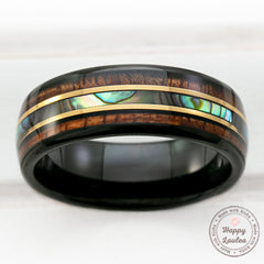 Black Tungsten with Gold Strip Ring with Abalone Shell & Hawaiian Koa Wood Tri-Inlay - 8mm, Dome Shape, Comfort Fitment