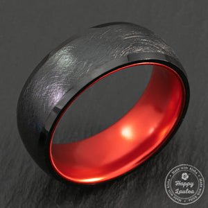Black Tungsten Brushed Finish Ring with Space Grade Aluminum Color Sleeve - Dome Shape, Comfort Fitment