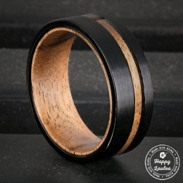 Black Tungsten Brushed Finished Ring with Offset Inlay & Inside Koa Wood Sleeve - 8mm, Flat Shaped, Comfort Fitment