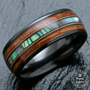Black Zirconium Ring with Guitar String, Abalone Shell, & Koa Wood Tri-Inlay - 8mm, Dome Shape, Comfort Fitment