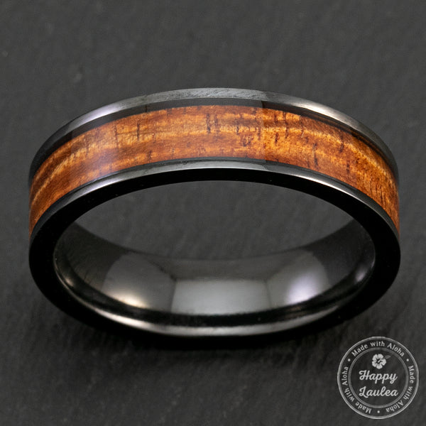 Black Zirconium 6mm Ring with Hawaiian Koa Wood Inlay - Flat Shape, Comfort Fitment