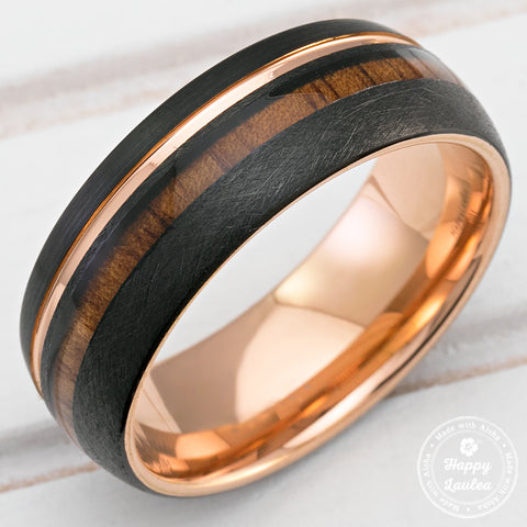 Black & Rose Gold Tungsten Ring with Offset Strip and Koa Wood Inlay - 8mm, Dome Shape, Comfort Fitment