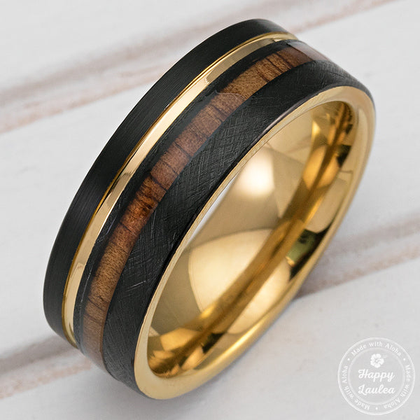 Black & Gold Tungsten Carbide Ring with fset strip and Koa Wood Inla