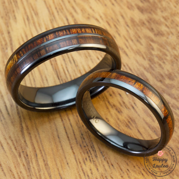 Pair of 4 & 6mm Black Ceramic Rings with Koa Wood Inlay - Dome Shape, Comfort Fitment, Assorted Designs