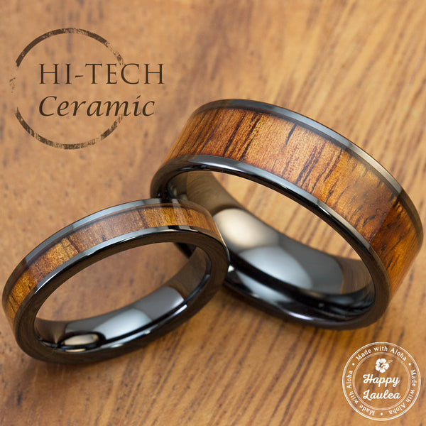 Pair of 4 & 8mm Black Ceramic Ring Set with Koa Wood Inlay - flat style, comfort fitment