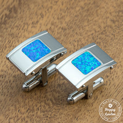 Titanium Cufflinks with Blue Opal Inlay - 13mm X 19mm