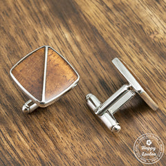 Silver Coated Brass Cufflinks with Koa Wood Inlay - 14mm x 14mm