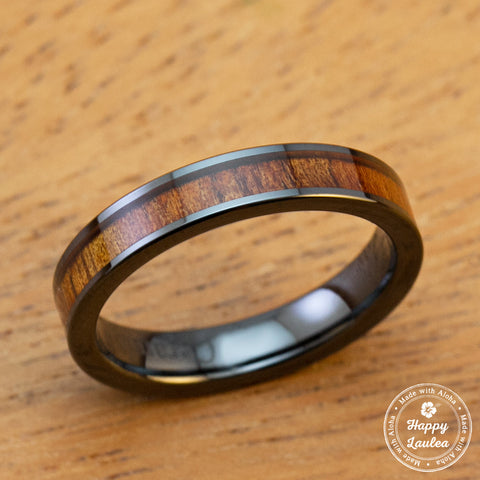 HI-TECH Black Ceramic Ring with Koa Wood Inlay - 4mm, Flat Shape, Comfort Fitment