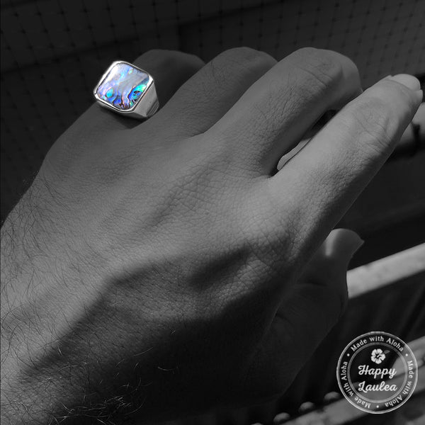 Tungsten Carbide Class Ring Style with Abalone Shell Inlay