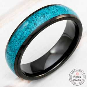 Black Zirconium Ring with Crushed Turquoise Inlay - 6mm, Dome Shape, Comfort Fitment