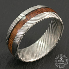 Damascus Steel Ring with Koa Wood Inlay - 8mm, Dome Shape, Comfort Fitment