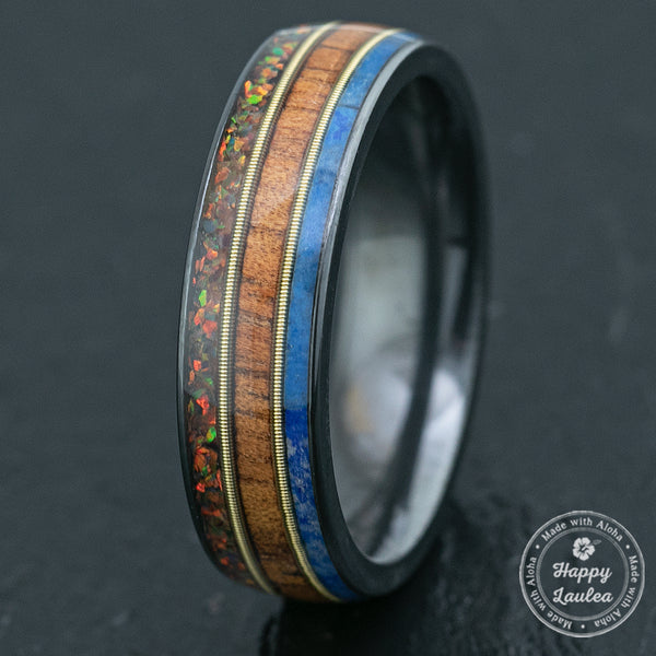 Zirconium Ring with Mid Guitar String / Fire Opal + Hawaiian Koa Wood + Lapis /  6mm / Dome Shape & Comfort Fitment