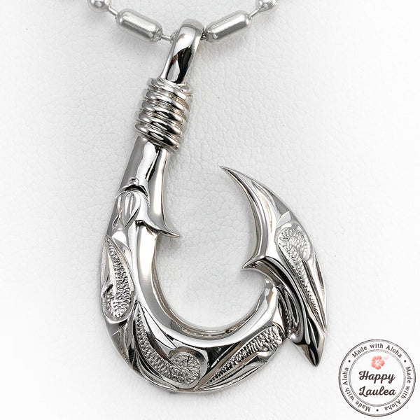 925 Sterling Silver Fish Hook Pendant Hand Engraved with Hawaiian Scroll Design