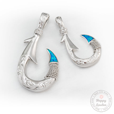 925 Sterling Silver Hawaiian Jewelry Hand Engraved Fish Hook Pendant with Blue Opal Inlay - Chain Included