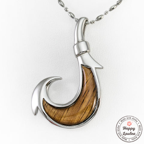 925 Sterling Silver Fish Hook Pendant with Koa Wood Inlay